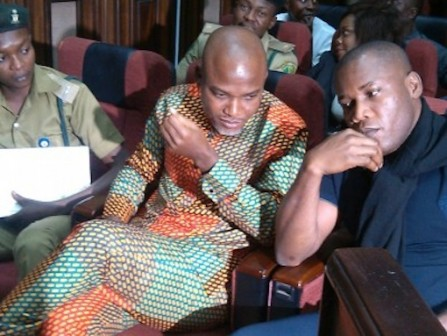 Nnamdi Kanu, leader of the Indigenous Peoples of Biafra, IPOB, was brought to the Federal High Court, Abuja, Friday, 29 January for his bail application