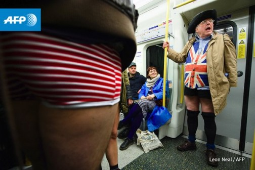 Out and proud:Some people used trouserless event as an opportunity to show off their national pride like this man in Union flag attire