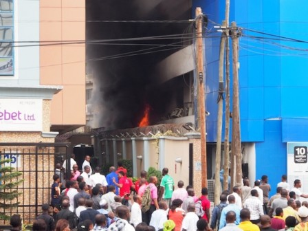 Up in flames: Samsung showroom/digital centre gutted by fire Photo: PM News
