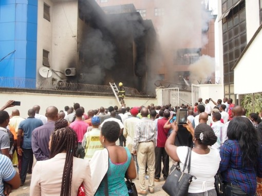 Samsung showroom/digital centre on fire