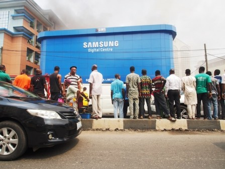 Samsung showroom/digital centre on fire  Photo: PM News