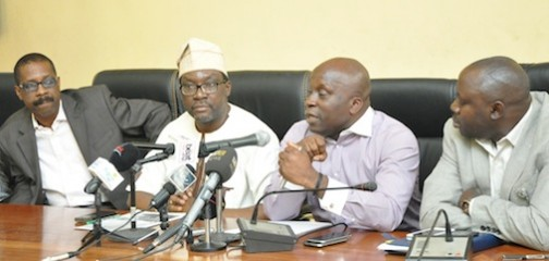 R-L: Special Adviser to the Governor on Sports, Mr. Deji Tinubu (2nd right), addressing journalists on the forthcoming Lagos City Marathon, at the Bagauda Kaltho Press Centre, the Secretariat, Alausa, Ikeja, on Tuesday, January 26, 2016. With him are Chief Press Secretary to the Governor, Mr. Habib Aruna; Commissioner for Information & Strategy, Mr. Steve Ayorinde and Director General, Lagos State Sports Commission, Mr. Ayo Agbesanwa