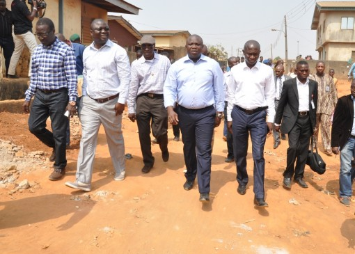 R-L: Lagos State Governor, Mr. Akinwunmi Ambode (2nd right); Commissioner for Energy & Mineral Resources, Mr. Wale Oluwo; Permanent Secretary, Ministry of Works & Infrastructure, Engr. Bade Adebowale; Managing Director, Strabic Construction Limited, Mr. Lekan Adebiyi and General Manager, Lagos State Public Works Corporation (LSPWC), Engr. Ayotunde Sodeinde, during the Governor's Inspection Tour of Church Road, Agbelekale and Giwa Street, Aboru in Agbado Oke-Odo LCDA, on Thursday, January 21, 2016