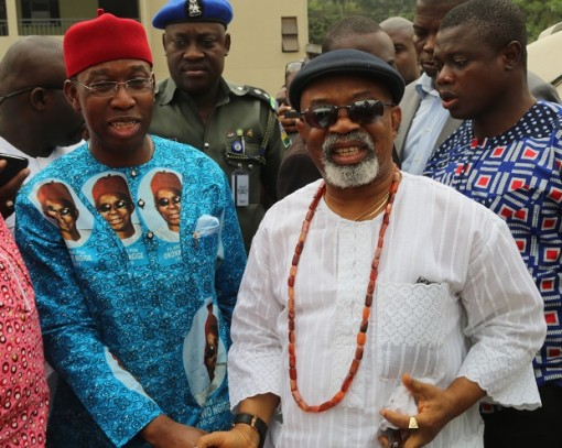 Delta State Governor, Senator Ifeanyi Okowa (left) and Anambra State Governor Dr. Chris Ngige, during the Funeral Mass of Pa Pius Ngige at St' Mary's Catholic Church,Alor, Anambra State.