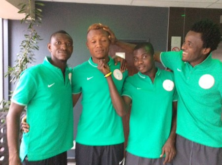 Samson Gbadebo (2nd left) with teammates after arriving at   Pretoria camp on Thursday(1)