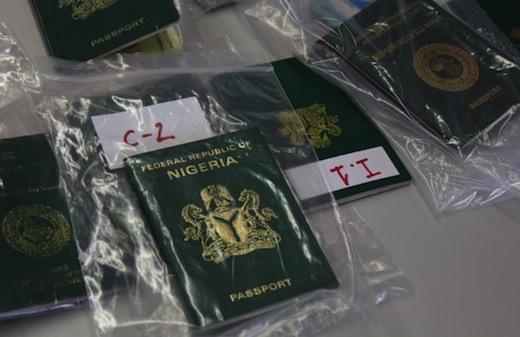 Seized Nigerian passports