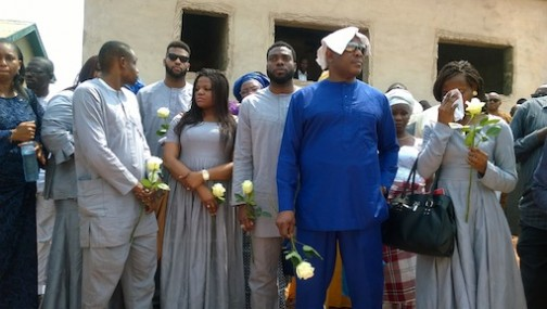 Stephen Keshi with his children during the burial ceremony
