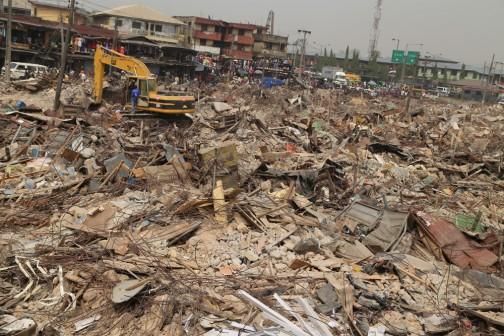 The rubble of Oshodi market demolished by Lagos state on Wednesday, 6 Jan. 2016.  Photo: Idowu Ogunleye