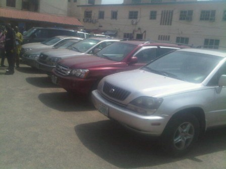 Vehicles recovered from criminals displayed during parade on Friday