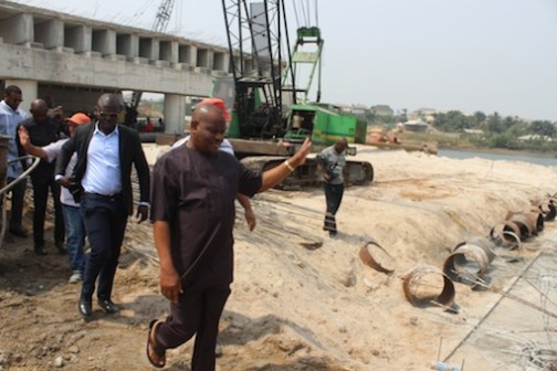 Rivers State Governor, Nyesom Ezenwo Wike inspecting the second bridge under construction at the Woji-Akpajo road in Port Harcourt on Saturday