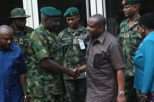 Rivers State Governor, Nyesom Wike shake hands with the General Officer Commanding, GOC, 82 Division, Enugu, Major General Ibrahim Attahiru at the Government House, Port Harcourt on Tuesday