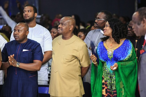 Rivers State Governor, Nyesom Ezenwo Wike and his wife, Justice Suzzette Eberechi Wike during the last day of the 5 Nights of Glory at the headquarters of the Salvation Ministries in Port Harcourt on Friday
