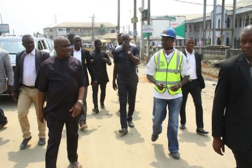 Rivers State Governor, Nyesom Ezenwo Wike inspecting ongoing construction work in Port Harcourt on Saturday