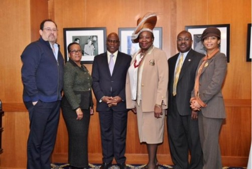 L-R: Dr. Paul S. Zeitz, PEPFAR; Ms. Jeannine B. Scott, President US-Angola Chamber of Commerce; Dr. Fidelis Ayebae, CEO Fidson Healthcare Plc; Dr. Gloria B. Herndon, CEO GB Pharma Holdings; Dr. Anthony Wutoh, Provost Howard University; Dr. Estelle-Marie Heussen, COO GB Pharma Holdings;