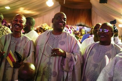 Friends of the groom's father, Bashorun Laja Talabi, Omoba Gbenga Osinowo and John Yinka Oloko during the church wedding