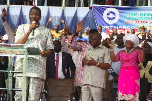 From Left: General Overseer of RCCG, Pastor Enoch Adeboye, Rivers State Governor, Nyesom Ezenwo Wike and wife the governor, Justice Suzette Nyesom-Wike during the Holy Ghost Rally in Port Harcourt on Sunday.