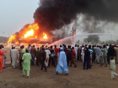 FILE PHOTO: NNPC Mega Station Dutse on fire