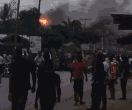 Senator Magnus Abe's liaison office on fire