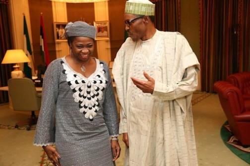 President Muhammadu Buhari (R) chatting with Abike Dabiri-Erewa