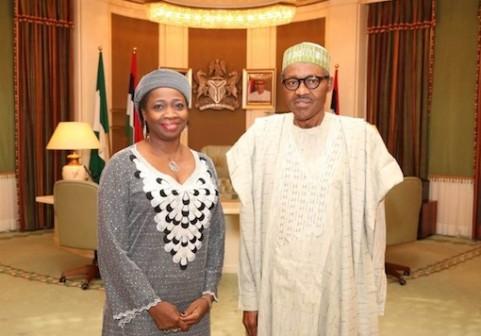 President Muhammadu Buhari (R) and Abike Dabiri-Erewa