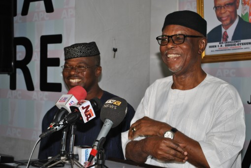 APC National Chairman, Chief John Odigie-Oyegun (right) and the party's Deputy National Chairman (South), Engr. Segun Oni during a briefing with APC Correspondents on Friday