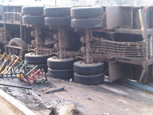 The truck whi crashed at CMS bus terminus on Thursday morning