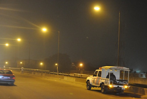 Illuminated Oshodi Oke with Street Lights and a stationed Rapid Response Squad (RRS), courtesy of the Light Up Lagos Project, an initiative of Governor Akinwunmi Ambode's Administration, on Thursday, January 28, 2016