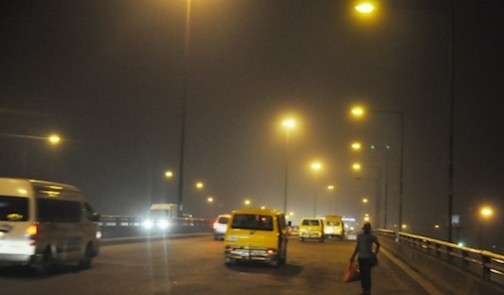 Illuminated Lagos Abeokuta roas with Street Lights and a stationed Rapid Response Squad (RRS), courtesy of the Light Up Lagos Project, an initiative of Governor Akinwunmi Ambode's Administration.