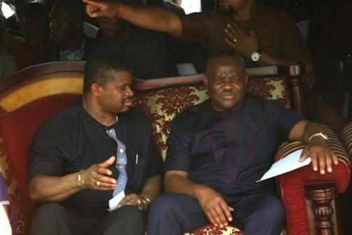 Rivers State Governor, Nyesom Wike (R) and Senator Lee Maeba