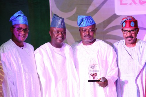 Speaker, Lagos State House of Assembly, Rt. Hon. Mudashiru Obasa (3rd right) holding the award plaque for the Most Outstanding House of Assembly. He is flanked by his Deputy, Hon. Wasiu Sanni-Eshinlokun (left); Senator Babajide Omowarare (2nd left) and Dr. Olorunimbe Mamora during the Award of Excellence organized by Global Excellence Magazine on Sunday in Lagos