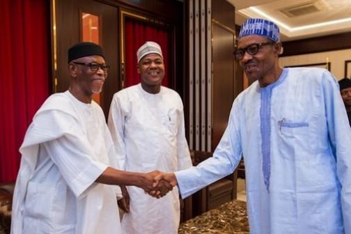 President Muhammadu Buhari welcomes Chief John Odigie-Oyegun as Yakubu Dogara, Speaker of the House of Reps looks on