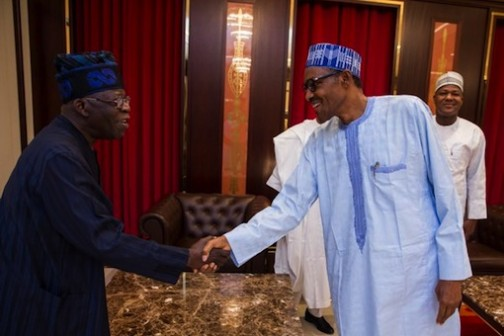President Muhammadu Buhari shake hands with Asiwaju Bola Tinubu, a national leader of the party
