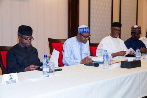 L-R: Vice President Yemi Osinbajo; President Muhammadu Buhari, Chief John Odigie-Oyegun, APC national chairman