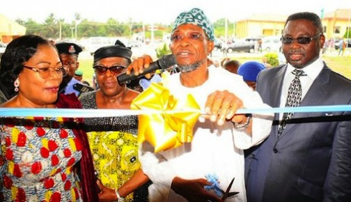 Governor Rauf Aregbesola commissioning Kings University as Pastor Mathew Ashimolowo, others look on