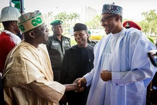 President Muhammadu Buhari shake hands with Asiwaju Bola Tinubu as Vice President Prof Osinbajo looks on at the International Conference Centre