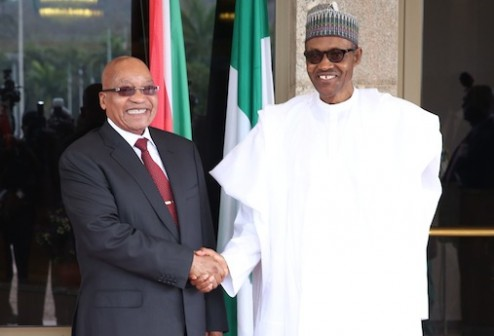 President Jacob Zuma of South Africa and President Muhammadu Buhari of Nigeria oversee two of Africa's biggest economies