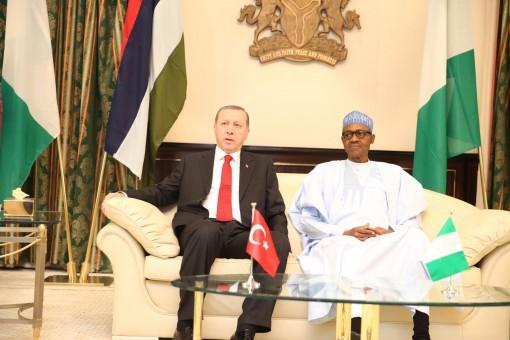 Turkish President Tayyip Erdogan in audience with President Muhammadu Buhari