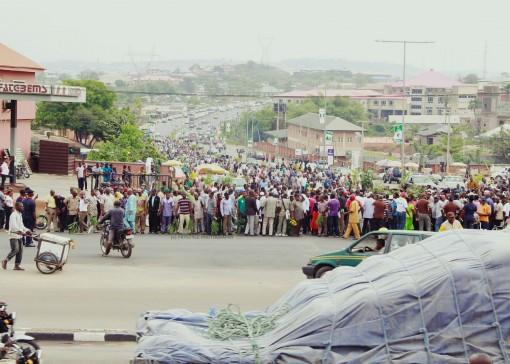 Ogun workers during a mega rally this morning…Photo: Abiodun Onafuye, Abeokuta