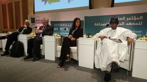 Minister of Information, Culture and Tourism, Alhaji Lai Mohammed and other panelists in Doha on Sunday when he featured as a panelist at the ongoing 2016 Annual Congress of the International Press Institute (IPI) in the Qatari capital.