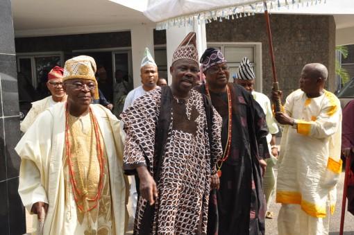 L-R- Alake of Egbaland, Oba Adedotun Aremu Gbadebo III; Ogun State Governor, Senator Ibikunle Amosun and the Awujale of Ijebu Kingdom, Oba Sikiru Kayode Adetona after a closed door meeting at the governor's office, Oke-Mosan, Abeokuta.