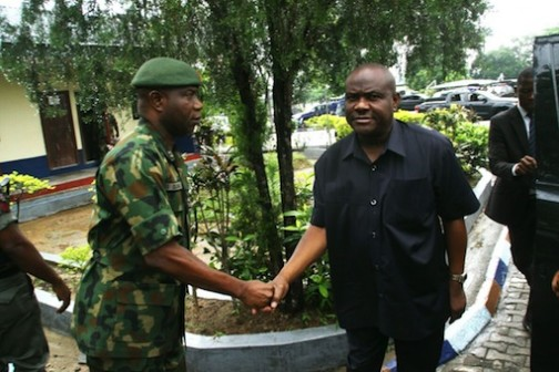 Governor Wike and the Commander, 2 Amphibious Brigade, Port Harcourt , Brigadier General Stephenson Olabanji during the condolence visit by the governor