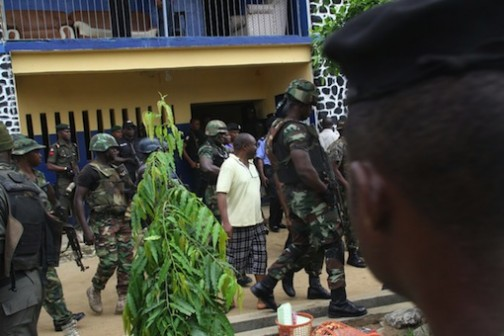Soldiers at Mile One police station