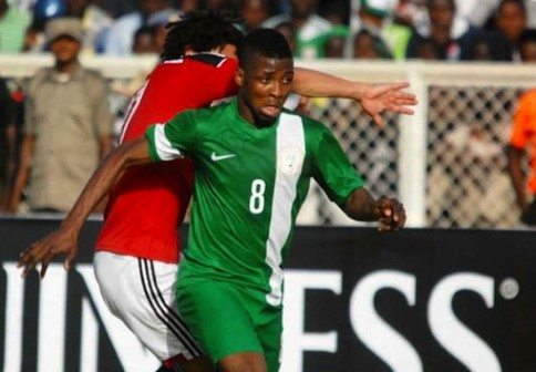 Kelechi Iheanacho in action during the first-leg against Egypt in Kaduna