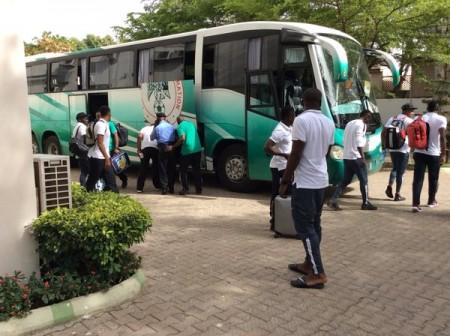 Super Eagles arriving Kaduna ahead of the match against Egypt