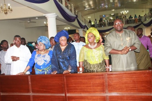 L-R: Former President of Nigeria, Dr. Goodluck Jonathan, his wife, Dame Patience Jonathan, widow of the late Governor, Mrs. Margaret Alamieyeseigha, wife of the Bayelsa State Governor, Mrs Rachael Dickson, and the Bayelsa State Governor, Hon. Seriake Dickson, during the Thanksgiving Service, rounding-off the activities of the burial ceremony  of late Chief DSP Alamieyeseigha, at the St. Peters Anglican Church, Yenagoa. Photo by Michael Owi