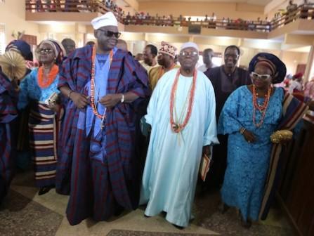 L-R: Mrs Folasade Ogunbiyi; Oba Adewale Osiberu; Oba Adeniyi Sonariwo and Olori Olubukola Osiberu