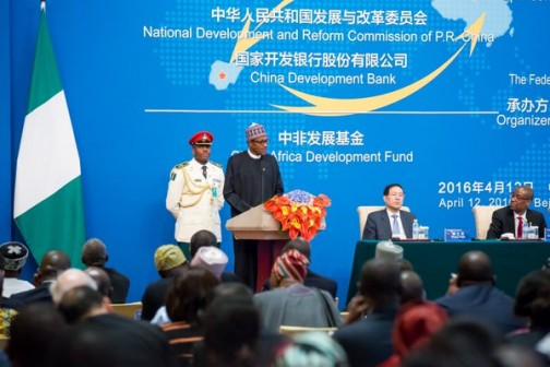 Buhari addressing a joint session in China