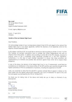FIFA's letter to Nigeria