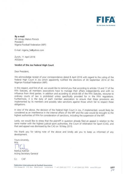 FIFA Letter to Nigeria