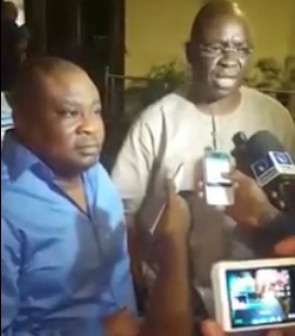 Temitope Aluko (L) and Governor Ayodele Fayose